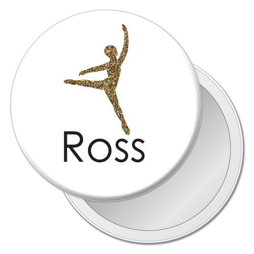 Glittery Gold Dancer Travel Mirror (Choose from 4 Dance Styles) - Ballet Gift Shop