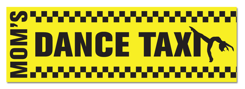 "Mom's Dance Taxi 11-1/2"" x 3-3/4"" Bumper Sticker"