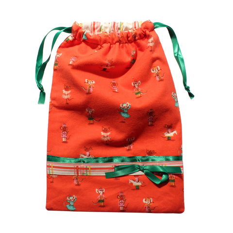 Christmas Mouse Flannel Drawstring Tote