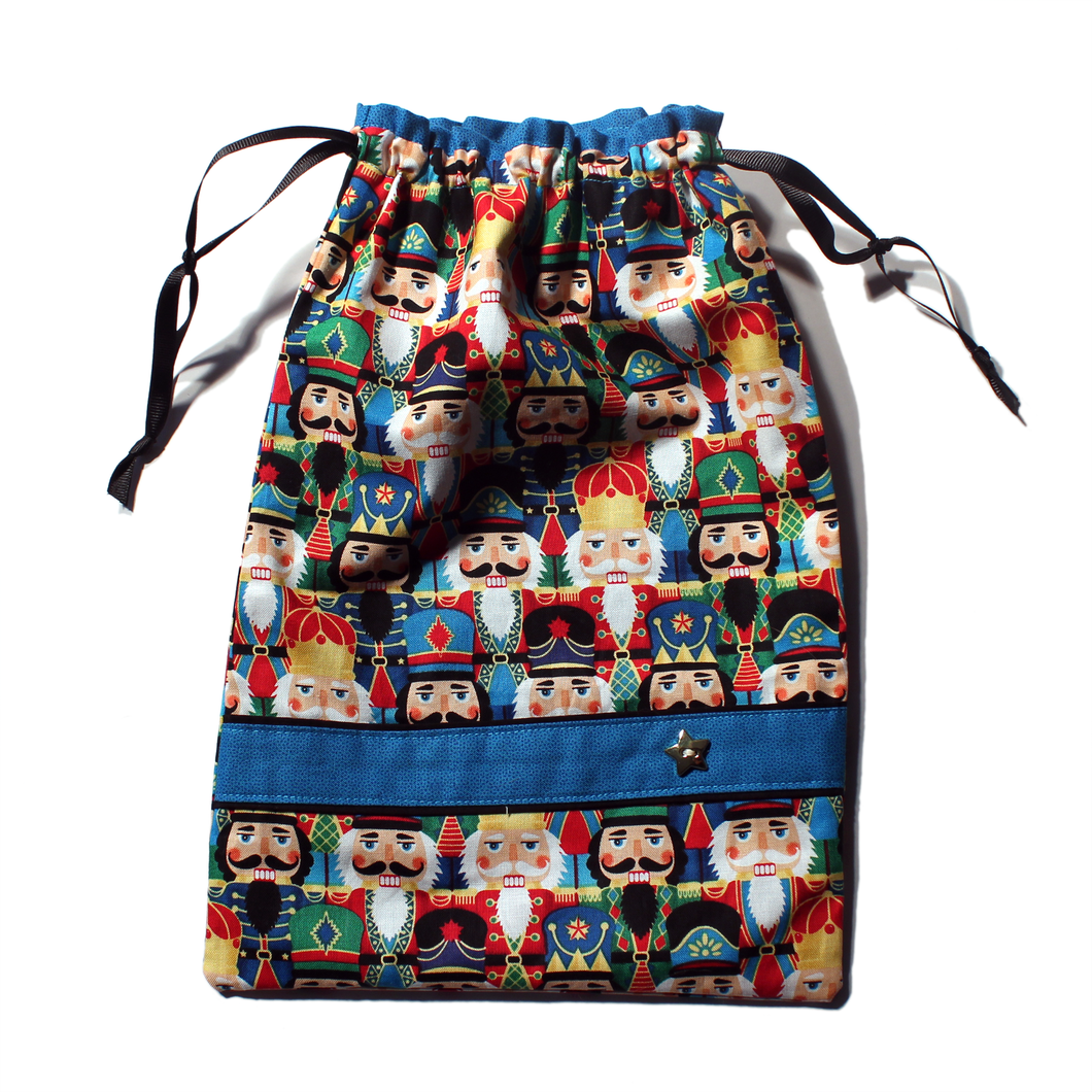 Nutcracker Faces Drawstring Tote