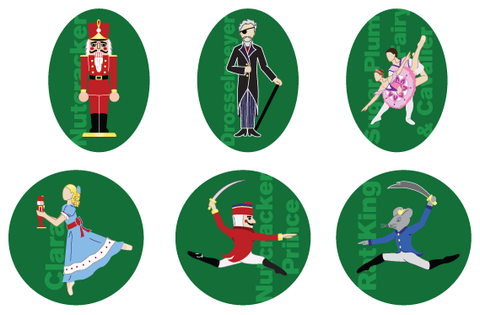 Nutcracker Character Full-Color Magnet Set of 6 - Ballet Gift Shop