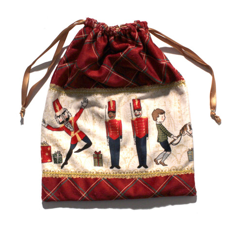 Nutcracker Illustrations Drawstring Tote - Minky - Ballet Gift Shop