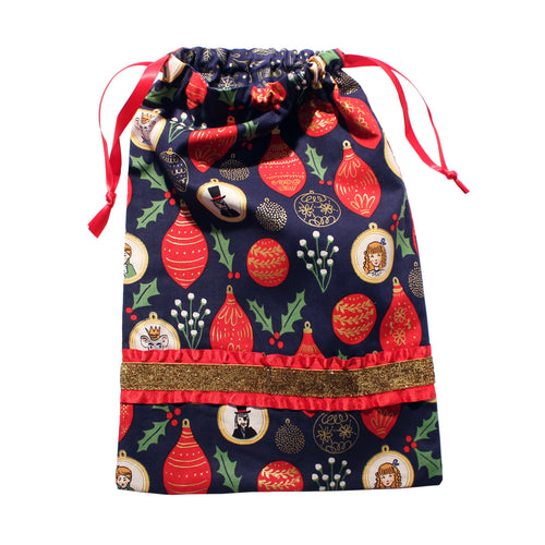 Nutcracker Ornaments Drawstring Tote