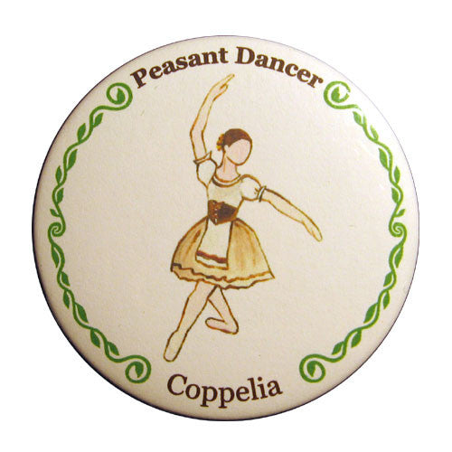 Peasant Dancer (from Coppelia) Button / Magnet - Ballet Gift Shop