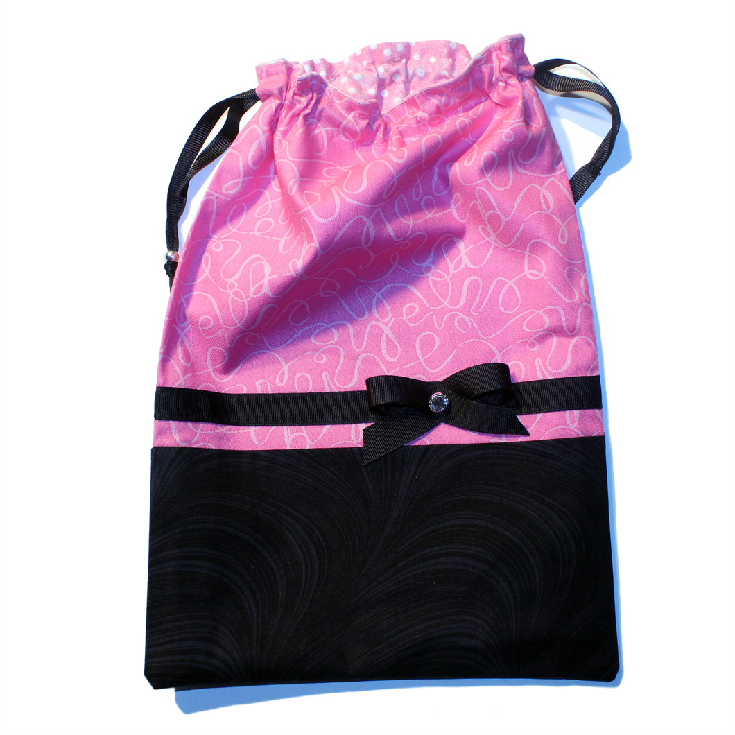 Pink & Black Swirls Drawstring Tote