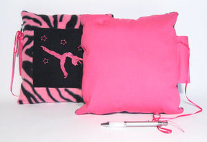 10x10 Ballerina Pink Zebra Embroidered Autograph Pillow - Ballet Gift Shop