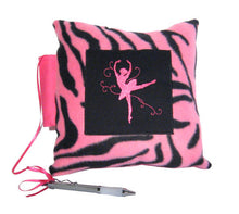 Load image into Gallery viewer, 10x10 Ballerina Pink Zebra Embroidered Autograph Pillow - Ballet Gift Shop