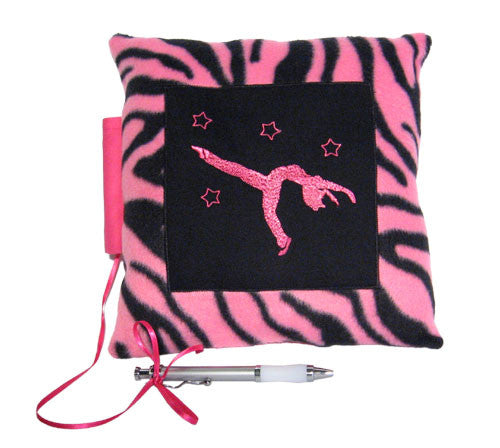 10x10 Jazz Pink Zebra Embroidered Autograph Pillow - Ballet Gift Shop