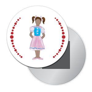 Polichinelle Girl (African-American) Button / Magnet