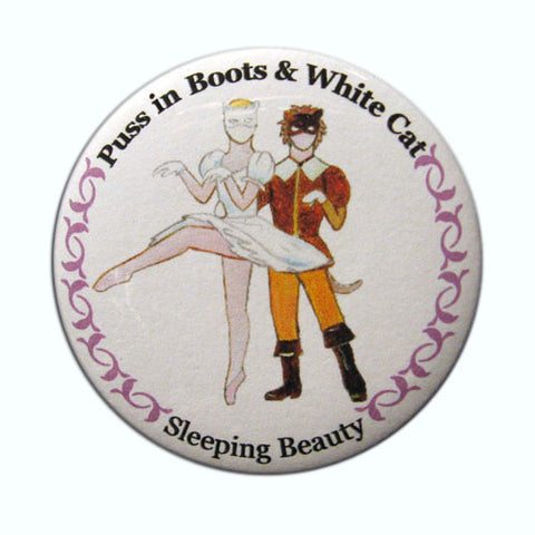 Puss in Boots & White Cat Button / Magnet