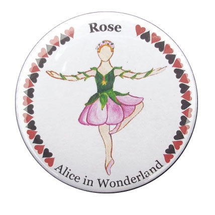 Rose Dancer (from Alice in Wonderland) Button / Magnet - Ballet Gift Shop