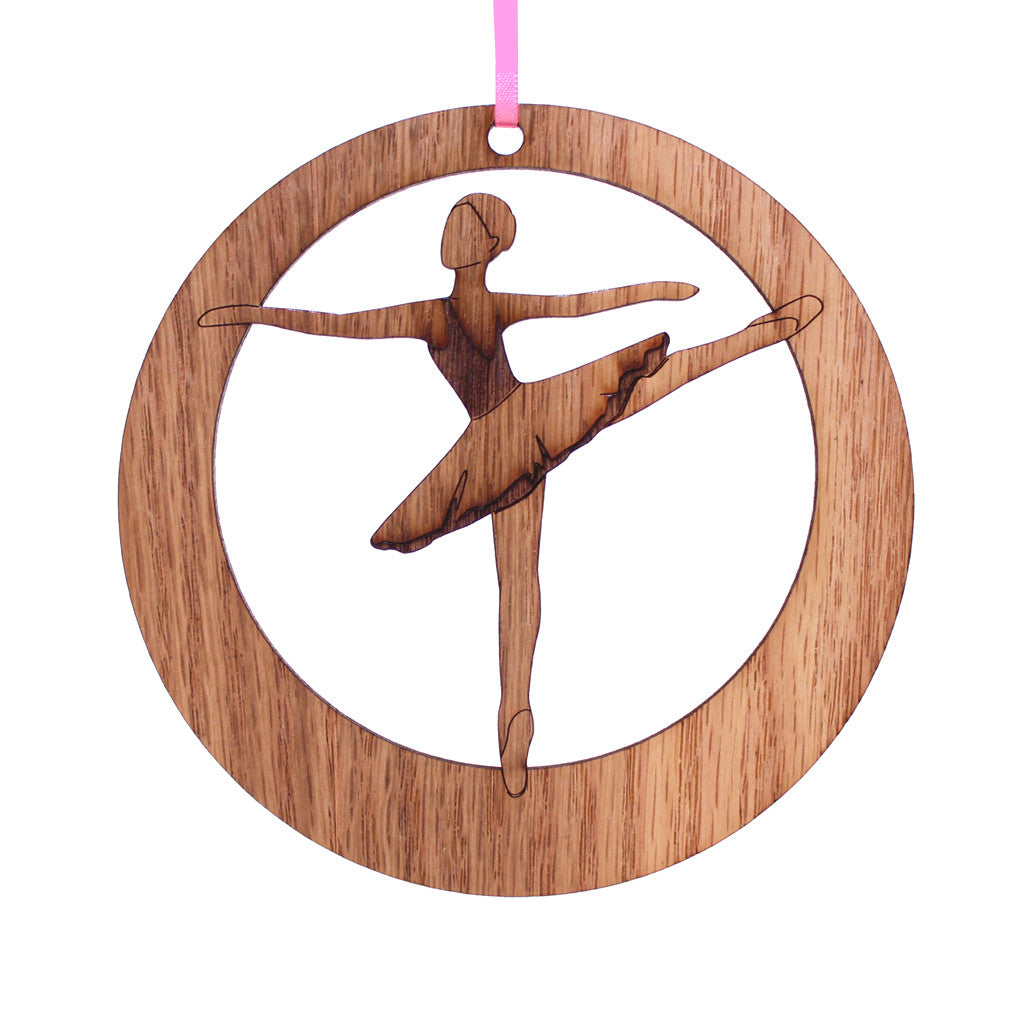 Second Arabesque Laser-Etched Ornament - Ballet Gift Shop