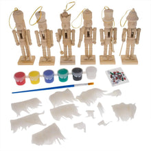"Load image into Gallery viewer, 5"" Paint Your Own Nutcracker Ornament Set of 6 Kit"
