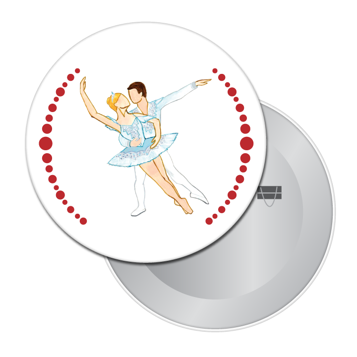 Snow Pas de Deux Button/Magnet/Mirror