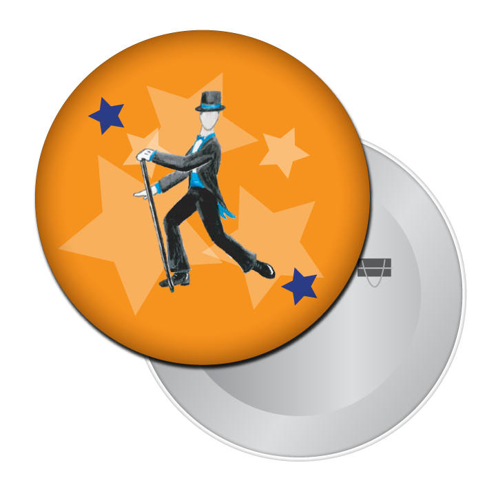 Top Hat & Tails Tap Dancer Button / Magnet