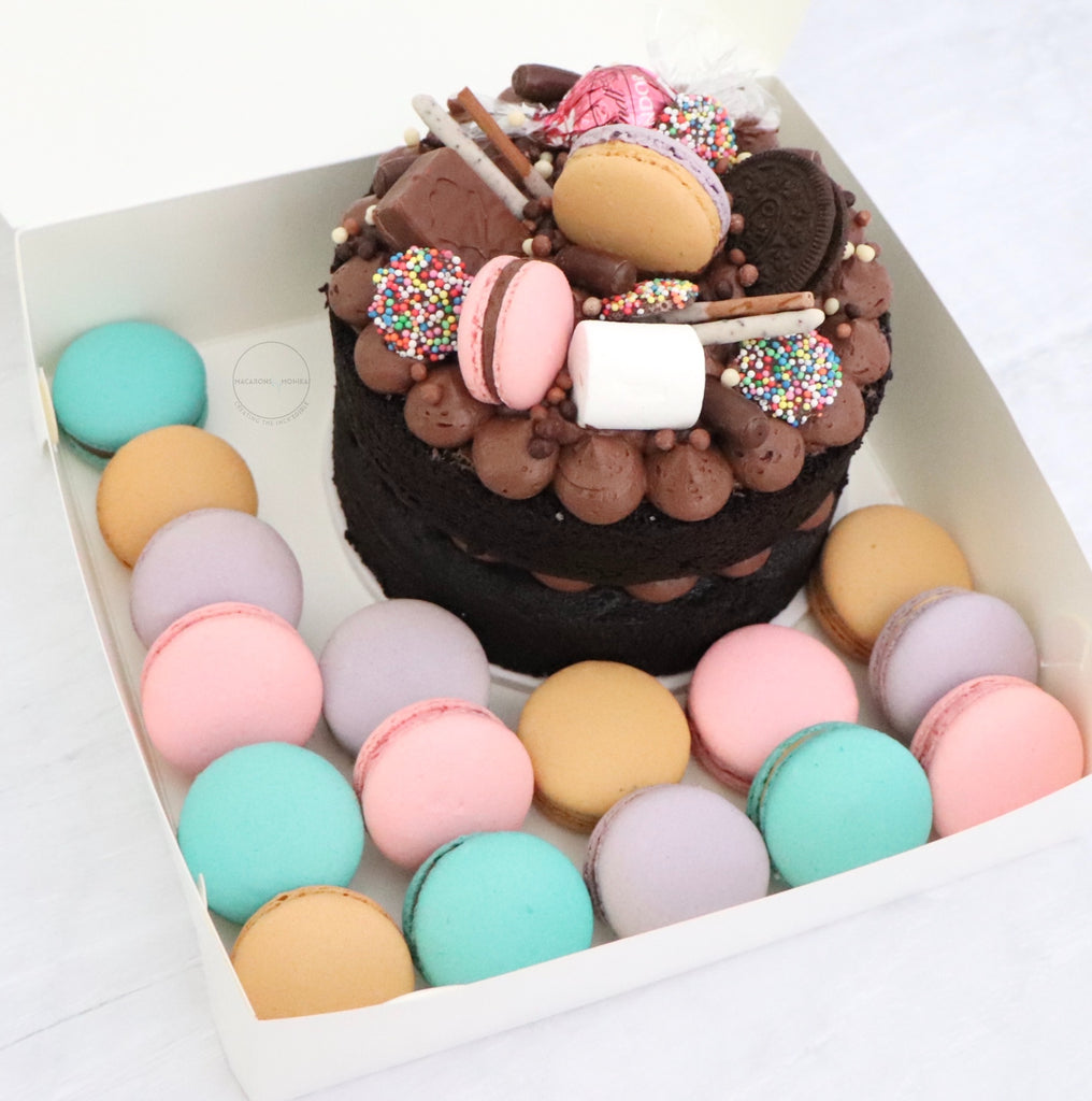 "16 Macarons + 6"" Chocolate Cake - Isolation Cake Package"