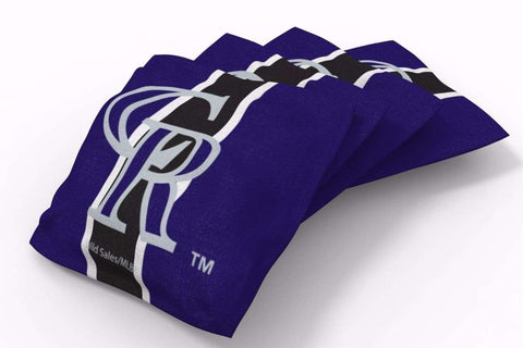 Image: Colorado Rockies Stripe Bean Bags-4pk (B) | Proline Tailgating