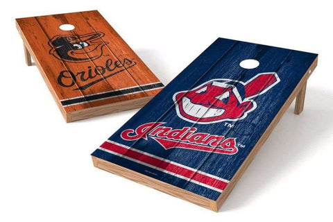 Image: Baltimore Orioles/ Cleveland Indians Rivals 2x4 Cornhole Board Set | Proline Tailgating
