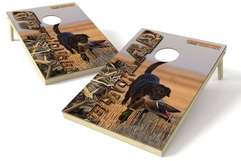 Image: Black Lab Hunting Dogs 2x3 Cornhole Board Set | Proline Tailgating