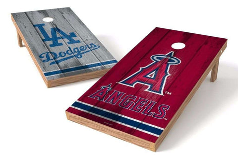 Image: Los Angeles Dodgers/ Los Angeles Angels Rivals 2x4 Cornhole Board Set | Proline Tailgating
