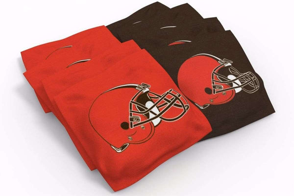 Image: Cleveland Browns Cornhole Board Set - Millennial Stripe (w/Bluetooth Speakers) | Proline Tailgating