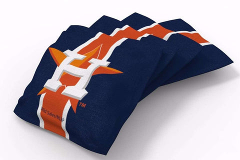 Image: Houston Astros Stripe Bean Bags-4pk (A) | Proline Tailgating
