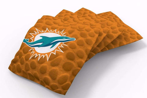 Image: Miami Dolphins Pigskin Design Bean Bags-4pk (B) | Proline Tailgating