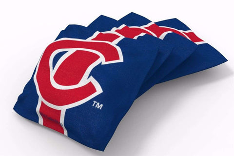 Image: Chicago Cubs Stripe Bean Bags-4pk (A) | Proline Tailgating