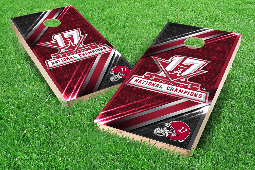Image: Alabama Crimson Tide 2x4 Cornhole Board Set - 2017 National Champions 1 (w/Bluetooth Speakers) | Proline Tailgating