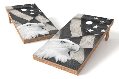 Image: USA Eagle 2x4 Cornhole Board Set-White (w/Bluetooth Speakers) | Proline Tailgating