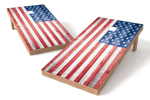 Image: USA Flag 2x4 Cornhole Board Set-Retro (w/Bluetooth Speakers) | Proline Tailgating