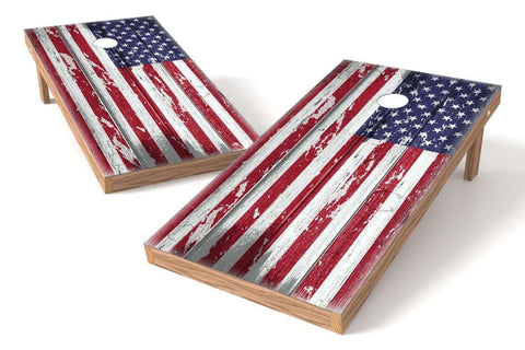 Image: USA Flag 2x4 Cornhole Board Set-Ripped (w/Bluetooth Speakers) | Proline Tailgating