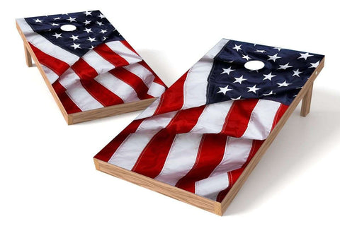 Image: USA Flag 2x4 Cornhole Board Set Flowing (w/Bluetooth Speakers) | Proline Tailgating