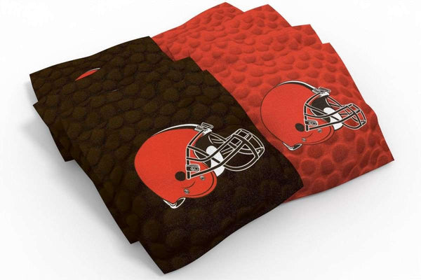 Image: Cleveland Browns 2x4 Cornhole Board Set - Logo (w/Bluetooth Speakers) | Proline Tailgating