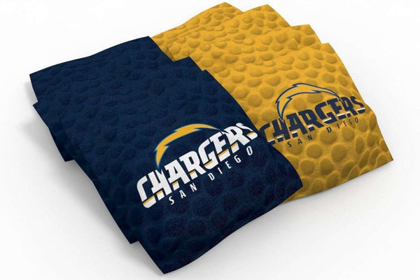 Image: Los Angeles Chargers 2x4 Cornhole Board Set - Wood | Proline Tailgating