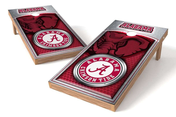 Image: Alabama Crimson Tide Cornhole Board Set - Medallion (w/Bluetooth Speakers) | Proline Tailgating