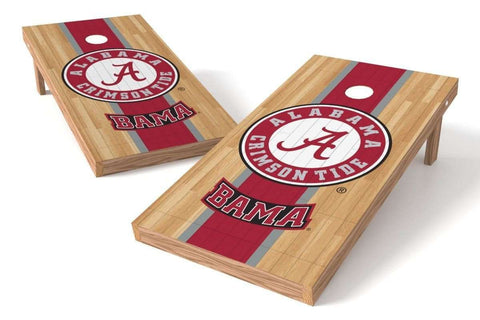 Image: Alabama Crimson Tide Cornhole Board Set - Basketball Court (w/Bluetooth Speakers) | Proline Tailgating