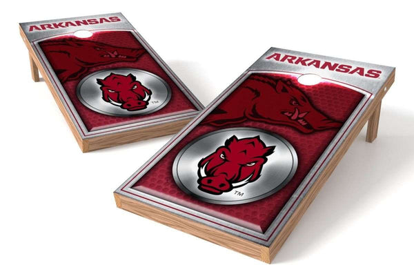 Image: Arkansas Razorbacks Cornhole Board Set - Medallion | Proline Tailgating