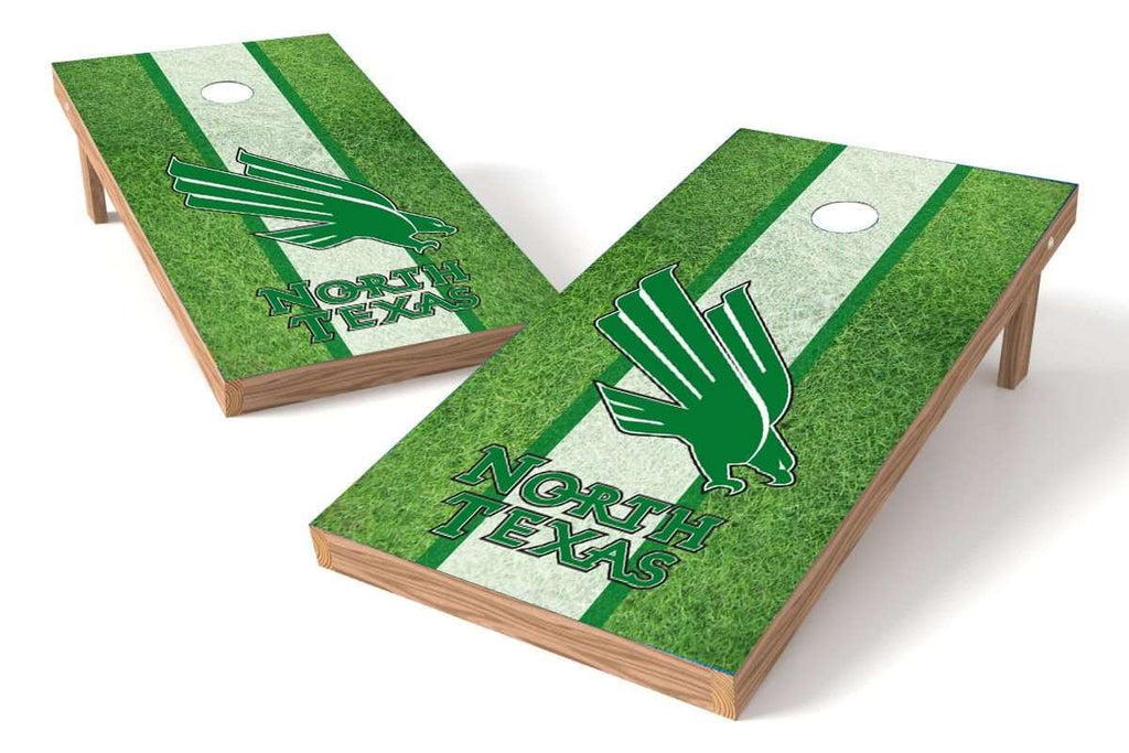 Image: North Texas Mean Green Cornhole Board Set - Field (w/Bluetooth Speakers) | Proline Tailgating