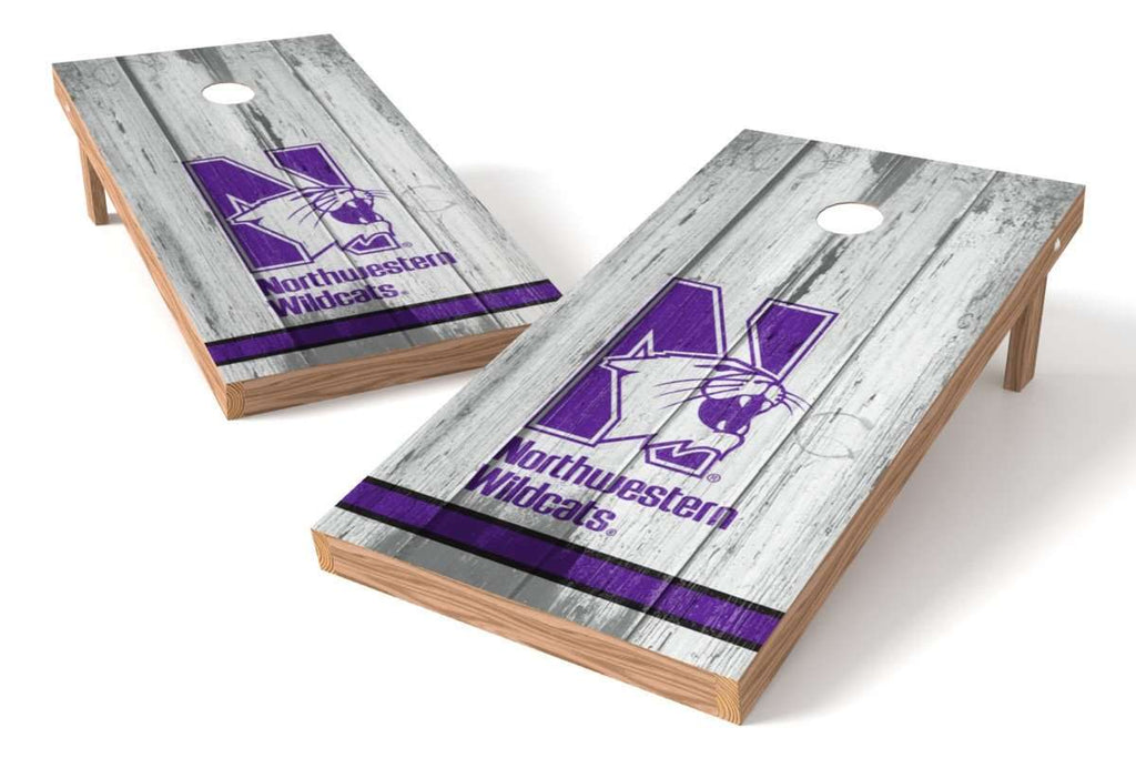 Image: Northwestern Wildcats Cornhole Board Set - Vintage (w/Bluetooth Speakers) | Proline Tailgating
