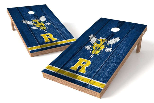 Image: University of Rochester Yellowjackets Cornhole Board Set - Vintage (w/Bluetooth Speakers) | Proline Tailgating