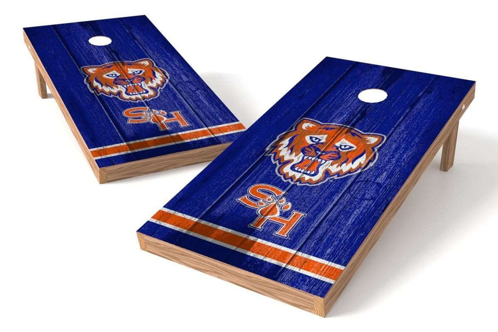 Image: Sam Houston State Bearkats Cornhole Board Set - Vintage (w/Bluetooth Speakers) | Proline Tailgating