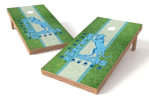 Image: Spelman College Jaguars Cornhole Board Set - Field (w/Bluetooth Speakers) | Proline Tailgating