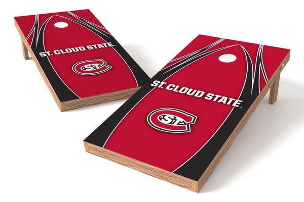Image: St. Cloud State Huskies Cornhole Board Set - The Edge (w/Bluetooth Speakers) | Proline Tailgating