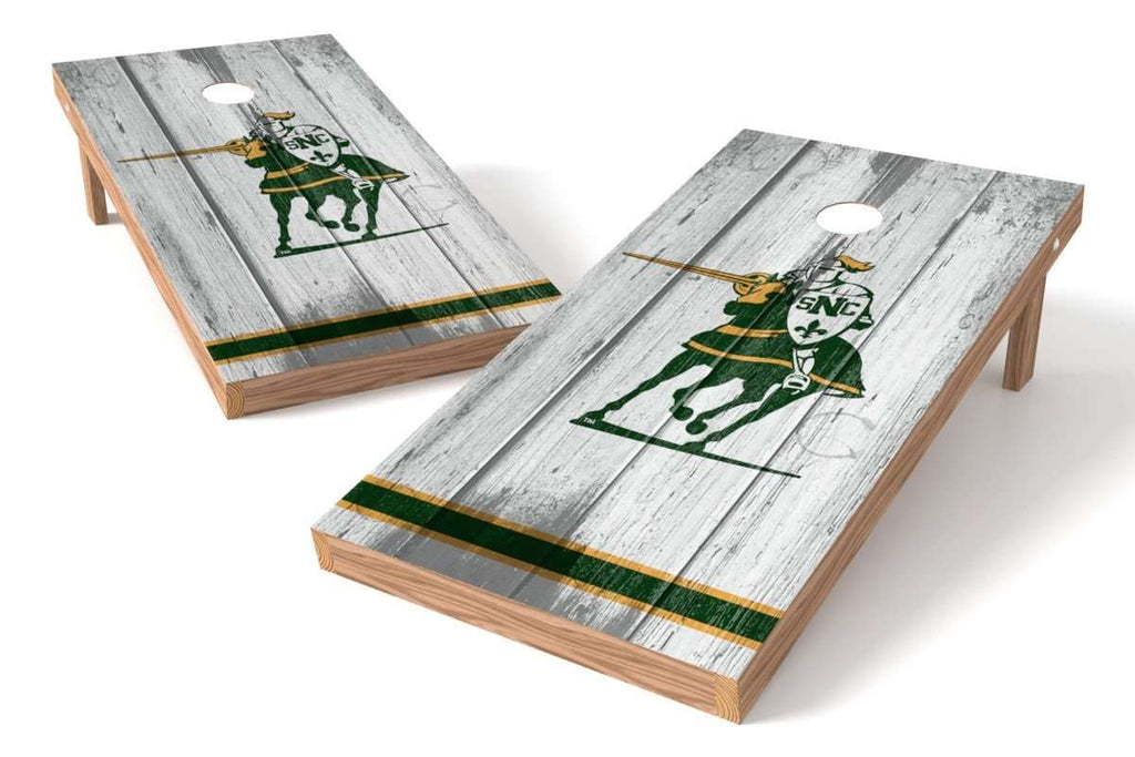 Image: St. Norbert College Green Knights Cornhole Board Set - Vintage (w/Bluetooth Speakers) | Proline Tailgating