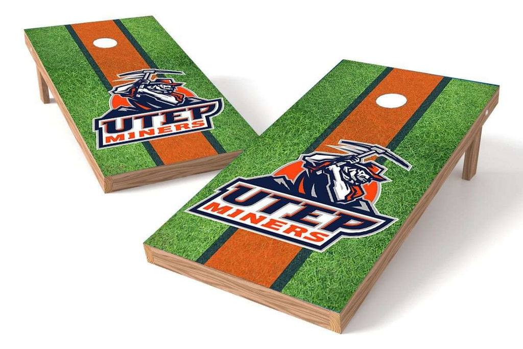 Image: UTEP Miners Cornhole Board Set - Field (w/Bluetooth Speakers) | Proline Tailgating