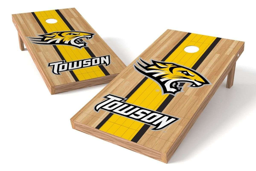 Image: Towson University Tigers Cornhole Board Set - Court (w/Bluetooth Speakers) | Proline Tailgating