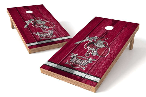 Image: Troy Trojans Cornhole Board Set - Vintage (w/Bluetooth Speakers) | Proline Tailgating