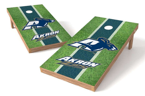 Image: Akron Zips Cornhole Board Set - Football Field (w/Bluetooth Speakers) | Proline Tailgating