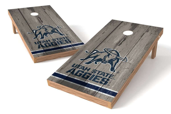 Image: Utah State Aggies Cornhole Board Set - Vintage (w/Bluetooth Speakers) | Proline Tailgating